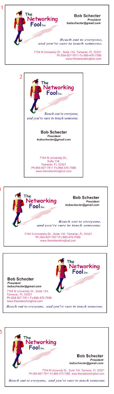 Networking Fool business card selections